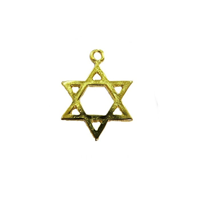 Pingente Estrela de Davi dourada grande- PTD051