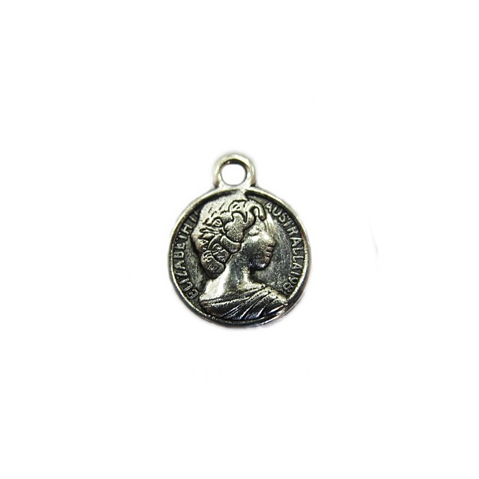 Pingente Medalha Elizabeth I níquel envelhecido (10 unidades)- PTN066