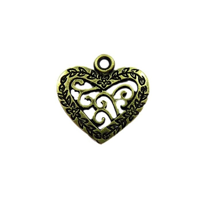 Pingente Coração ouro velho (10 unidades) - PTO047