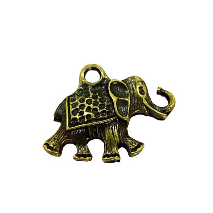 Pingente Elefante Ouro Velho Grande- PTO048