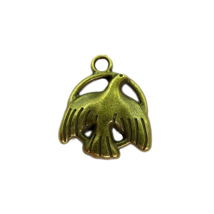 Pingente Pomba II ouro velho - PTO052