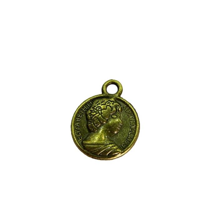 Pingente Medalha Elizabeth I ouro velho (10 unidades)- PTO056