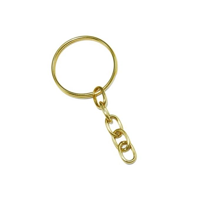 Argola de chaveiro dourada com corrente  (100 unidades)- ARD001 ATACADO