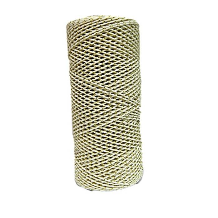 Cordão c/ nylon branco / dourado (10mets)- CDN009