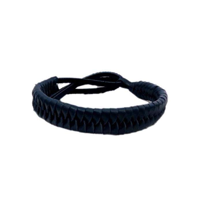 Pulseira de couro trançado azul montana- PUL005