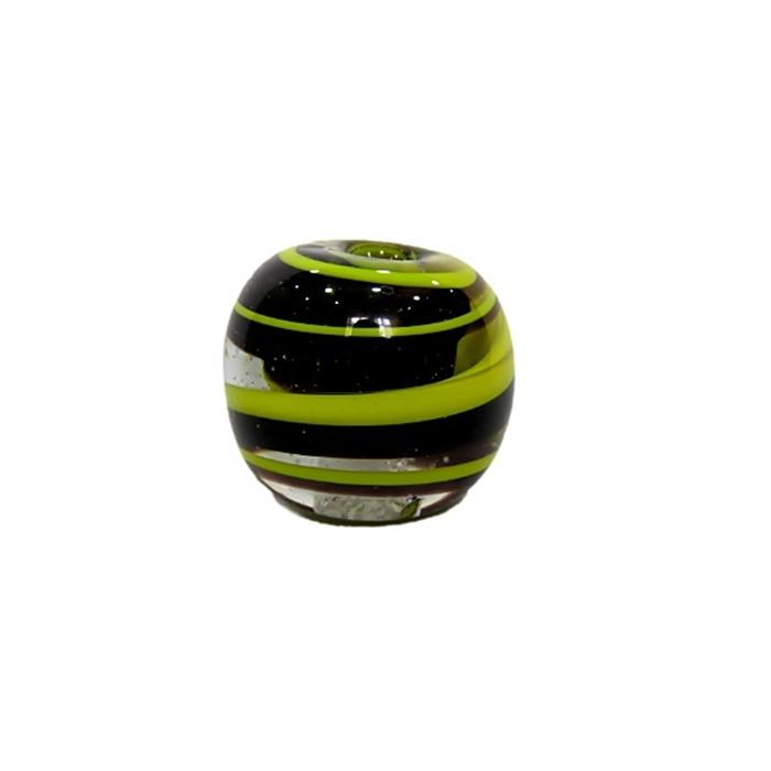 Bola de murano GG preto/ amarelo- MU018