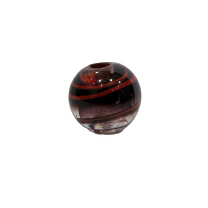 Bola de murano M preto/ vermelho- MU096
