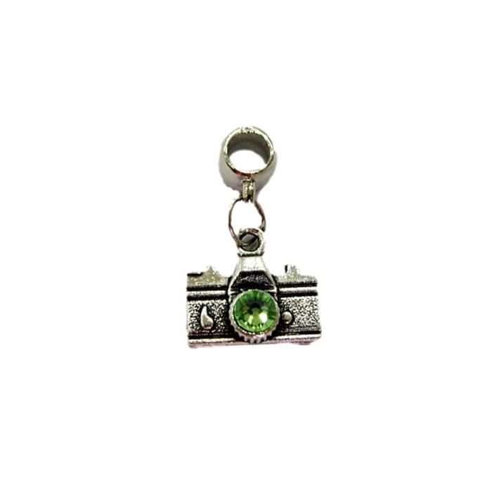 Berloque pingente níquel máquina fotográfica peridot- BEN150