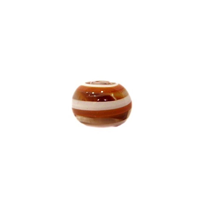 Bola de murano P  marrom/ branco (10 unidades)- MU123