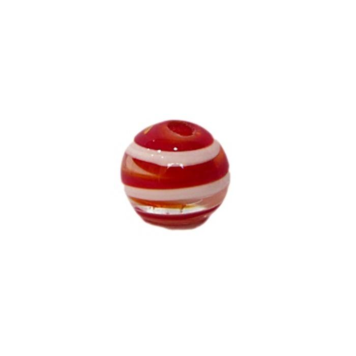 Bola de murano P vermelho/ branco (10 unidades)- MU141