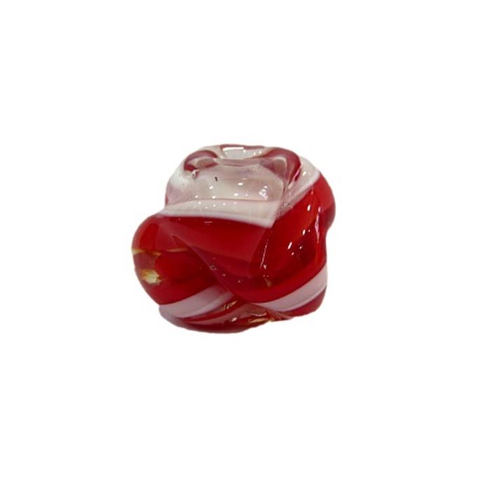 Meteoro de murano G vermelho/ branco- MU292