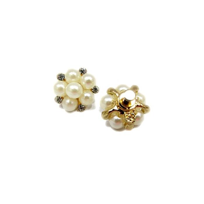 Piercing Flor de pérola dourado(Par)- PID053
