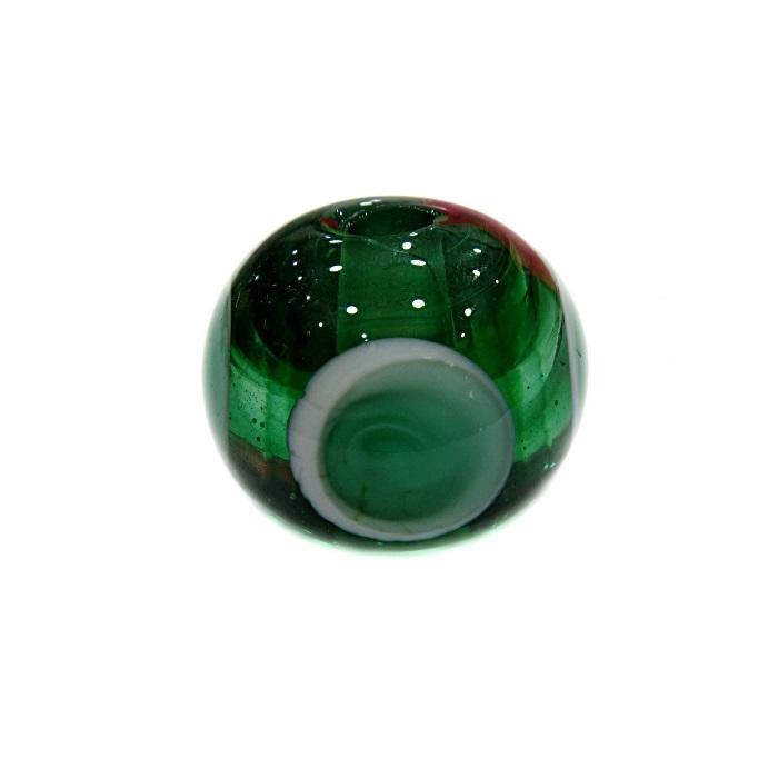 Bola de murano G verde c\ circulos- MUD011