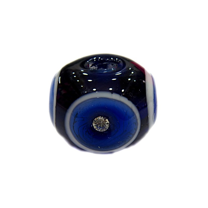 Bola de murano G azulão c\ strass- MUD014