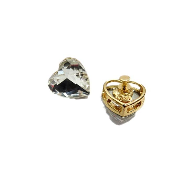 Piercing Coração III dourado (Par)- PID057