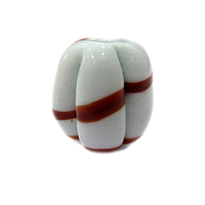 Pitanga de murano GG branco/ marrom- MU372