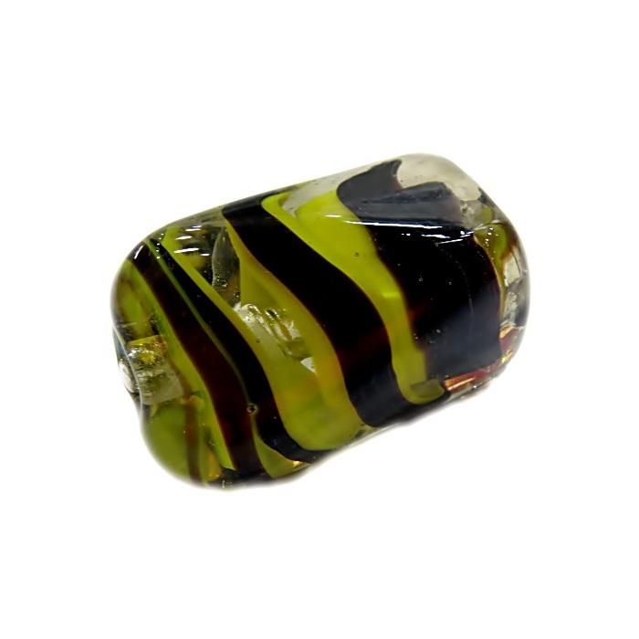 Facetado de murano GG amarelo/ preto irisado- MU480