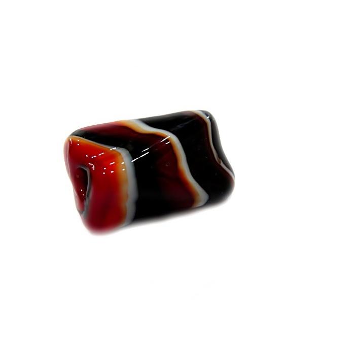 Facetado de murano G preto/ branco/ vermelho-MU551