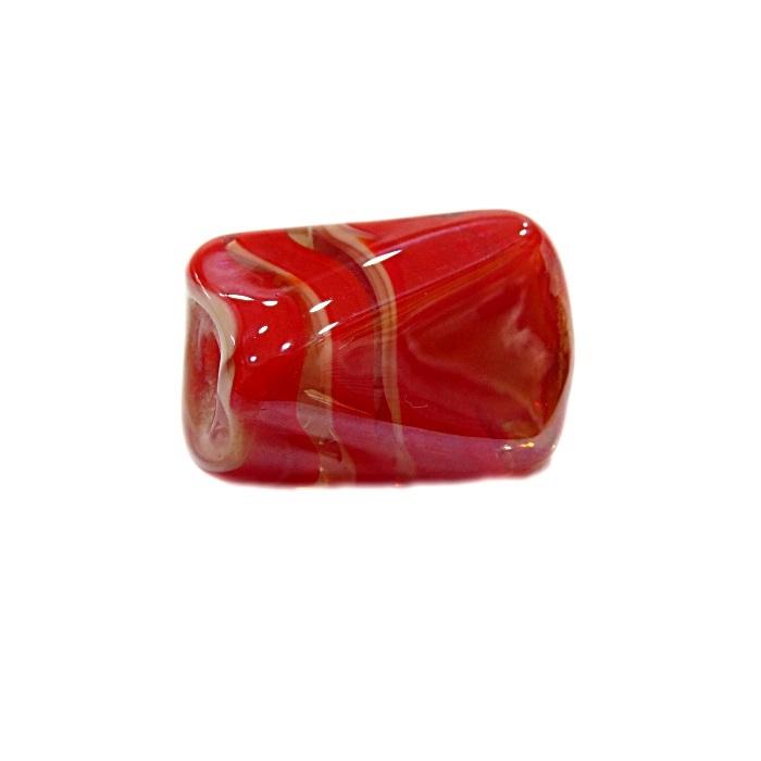 Facetado de murano G vermelho/ branco irisado- MU563