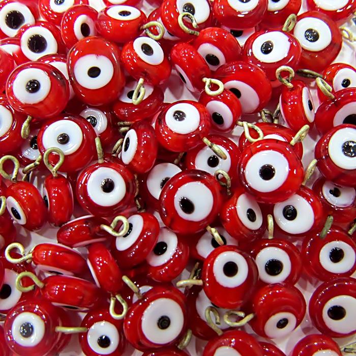 Olho grego achatado pingente vermelho- (1.000 unidades)- OGP012 ATACADO