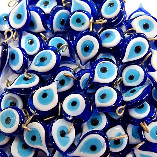 Olho grego gota achatada pingente azulão/ turquesa  (100 unidades)- OGP022 ATACADO