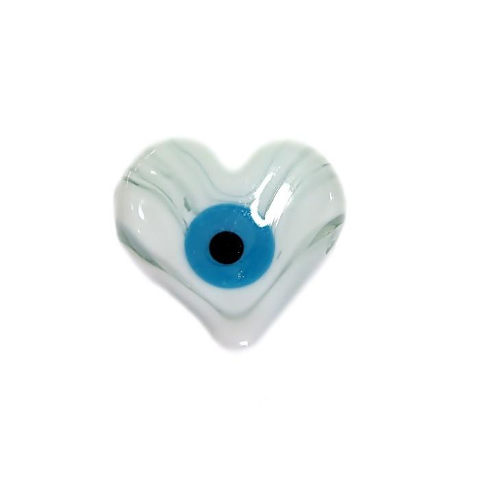 Olho grego entremeio achatado coração branco- OGE014