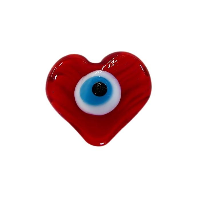 Olho grego entremeio achatado coração vermelho- OGE015