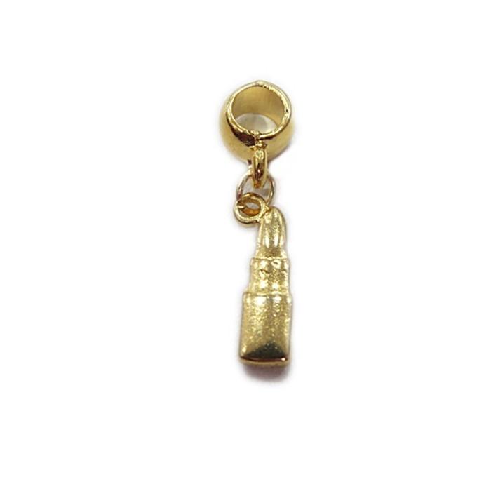 Berloque Dourado Pingente Batom BED013