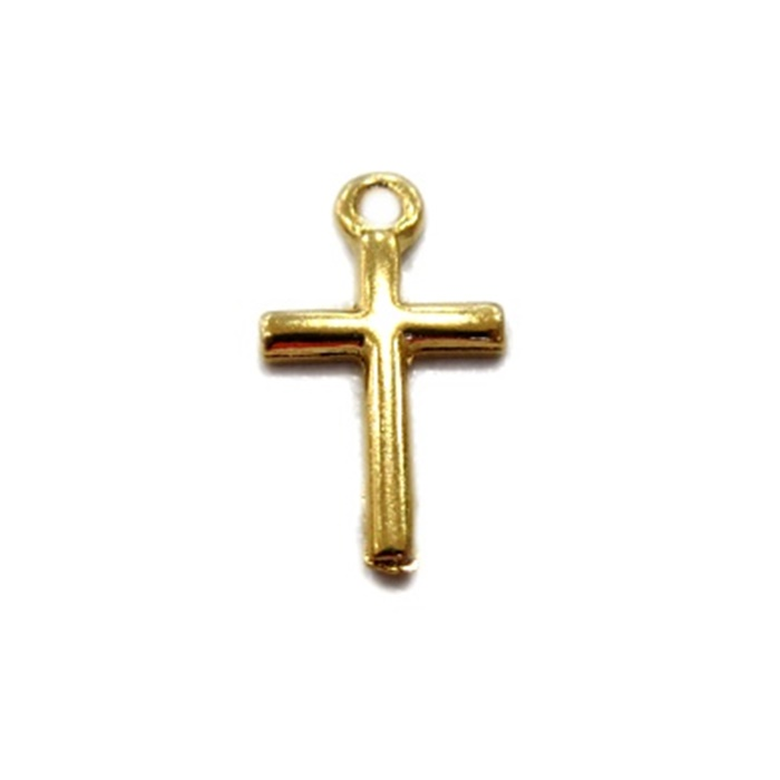 Pingente Cruz pequena dourada (10 unidades)- PTD006