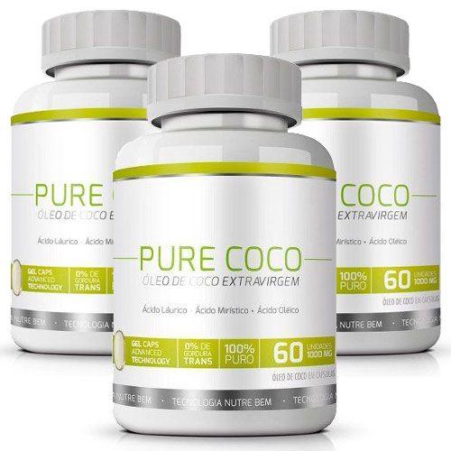 Pure Coco Óleo de Coco Extra Virgem 100% Puro Emagrecedor - 03 Potes   - LA Nature