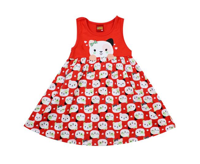Vestido Regata Vermelho de Gatinho Kyly