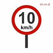 Placa de Sinalização: Limites de Velocidades 50 Ø com Poste - Clace 1 UN