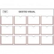 Quadro de Gestão Visual 140x95 cm  (L x A) com 12 Displays PETG - Clace 1 UN