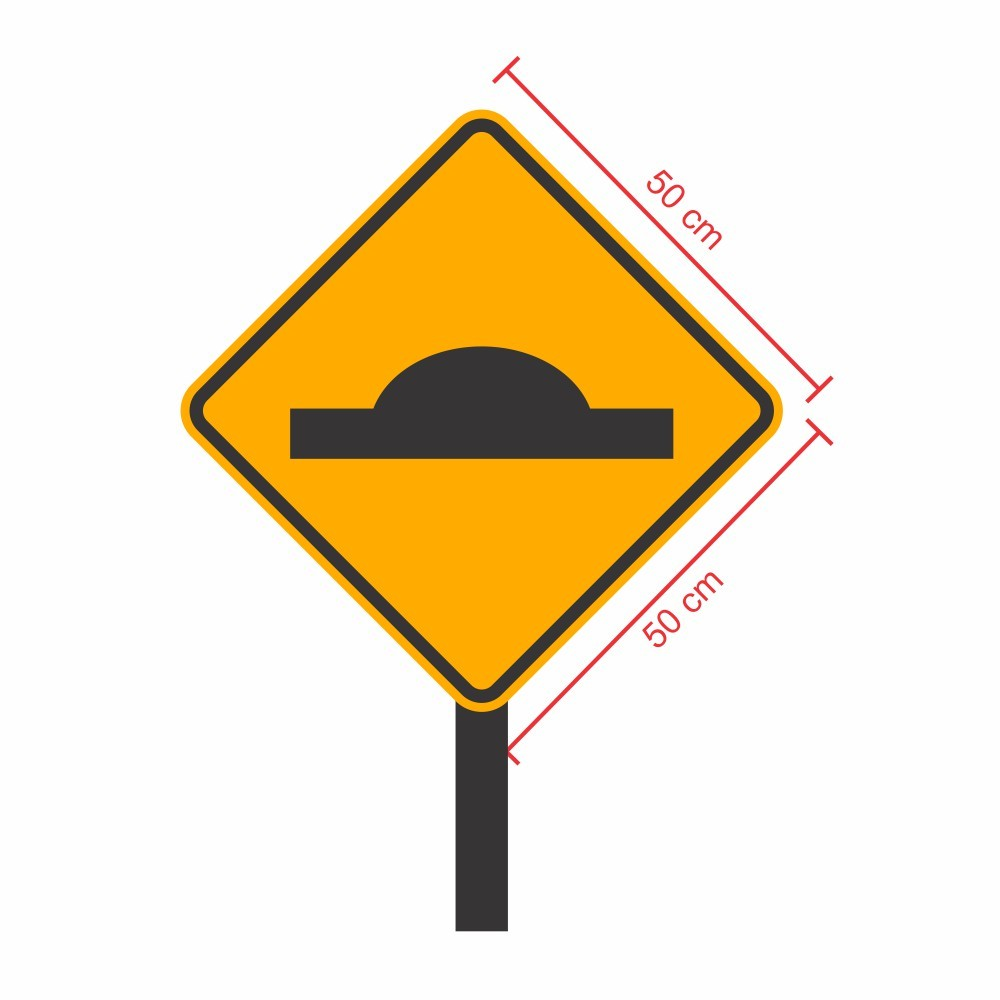 Placa de Sinalização: Lombada 50x50 cm com Poste - Clace 1 UN
