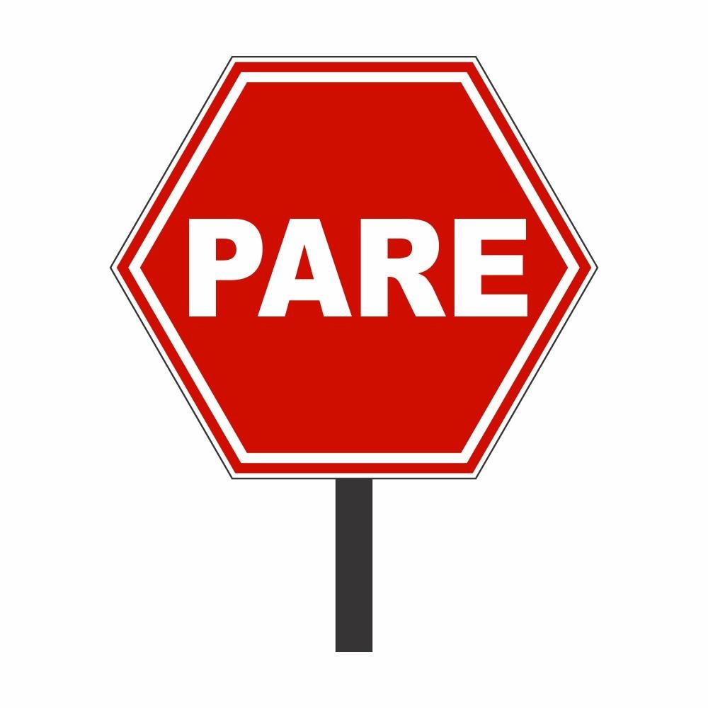 Placa de Sinalização: PARE  50 Ø com Poste - Clace 1 UN