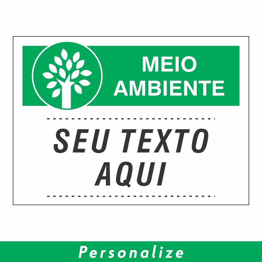 Placa MEIO AMBIENTE Personalizada - Clace 1 UN