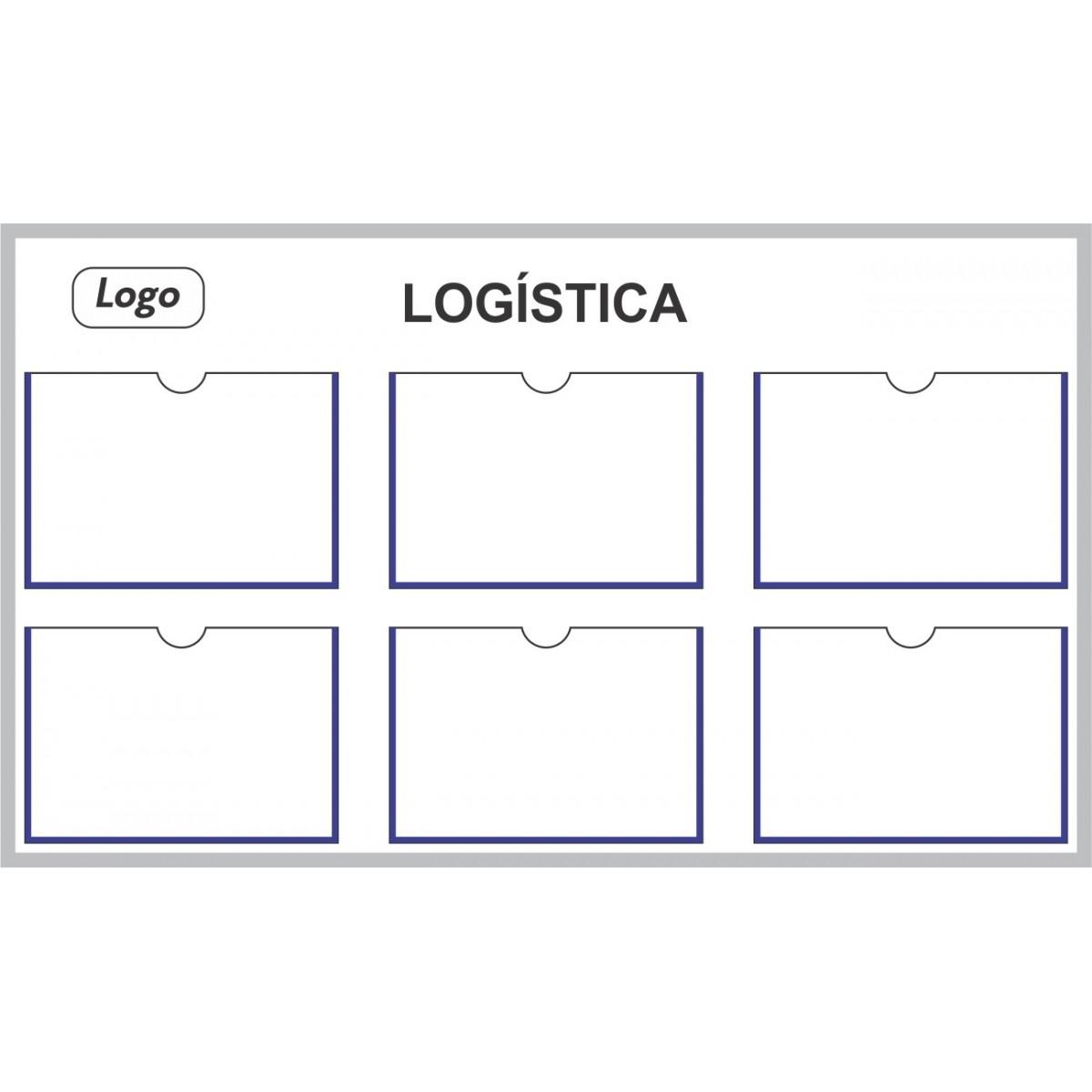 Quadro de Gestão Visual 110x65 cm  (L x A) com 6 Displays - Clace 1 UN