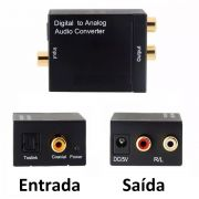 Conversor de Audio Digital Optico e Coaxial para Analógico Rca