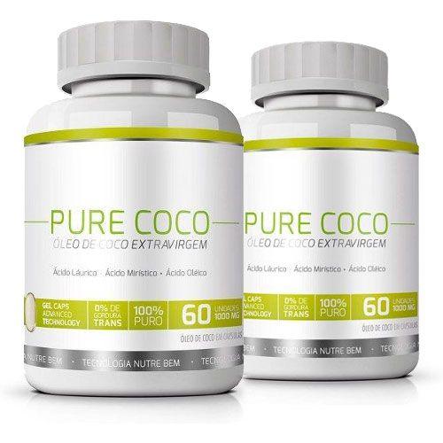 Pure Coco|Óleo de Coco Extra Virgem 100% Puro|Emagrecedor - 02 Potes   - Natural Show - Produtos Naturais, Suplementos e Cosméticos