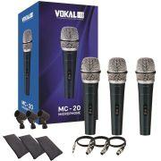Kit 3 Microfones Profissional Vokal Mc20 + Acessórios