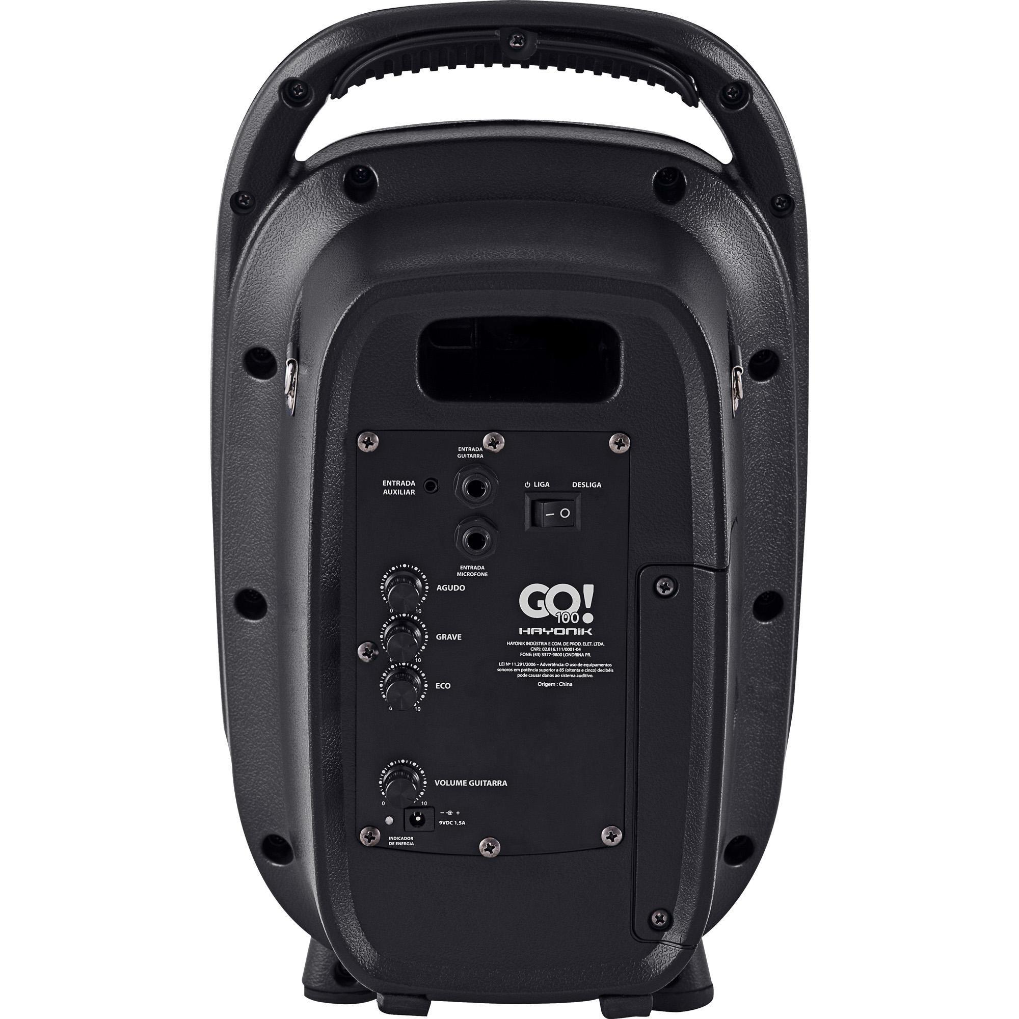 Caixa Hayonik Portatil Go100 Ativa Bateria Usb/Sd/Fm/Bt