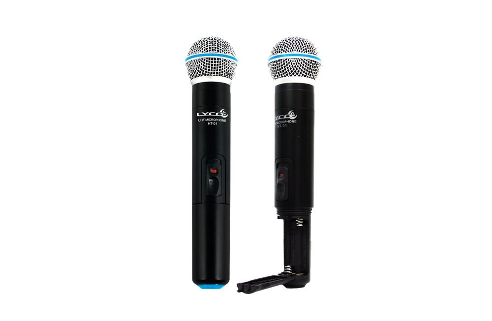 Microfone Sem Fio Uhf Lyco Uh02mm Mao Duplo