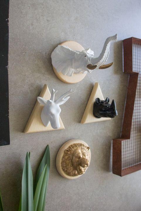 Combo Decor Wild: Leão + Alce + Rinoceronte + Mamute