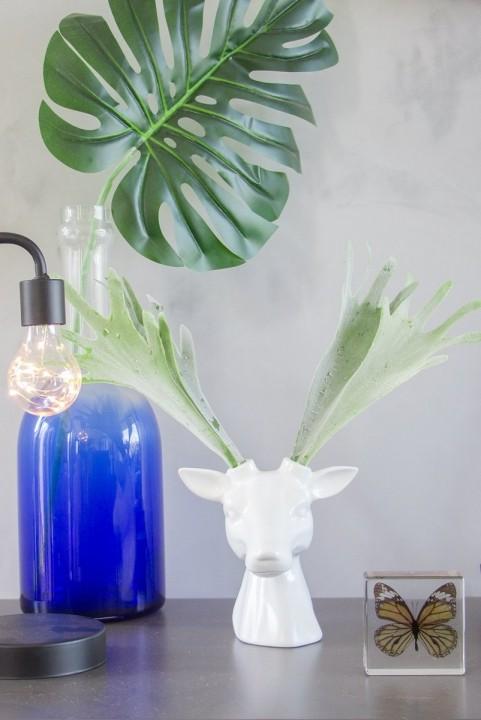 Vaso Decor Cabeça Alce Chifre Plantas Branco