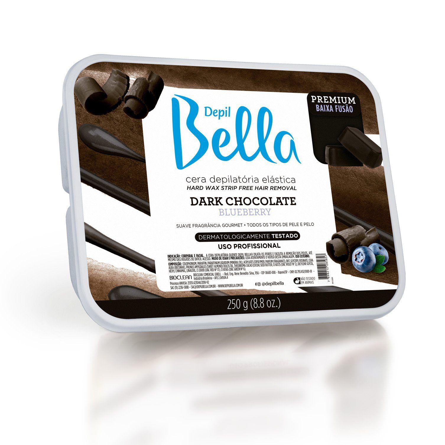 CERA DEPILATÓRIA ELASTICA DARK CHOCOLATE BLUEBERRY - PREMIUM DEPIL BELLA - 250G