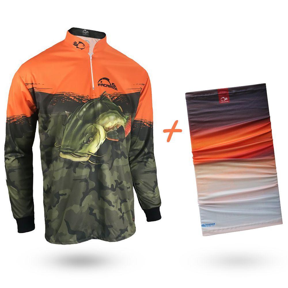Camiseta de Pesca Faca na Rede Combat S Pirarara 2020 + Bandana Tb19 Por do Sol