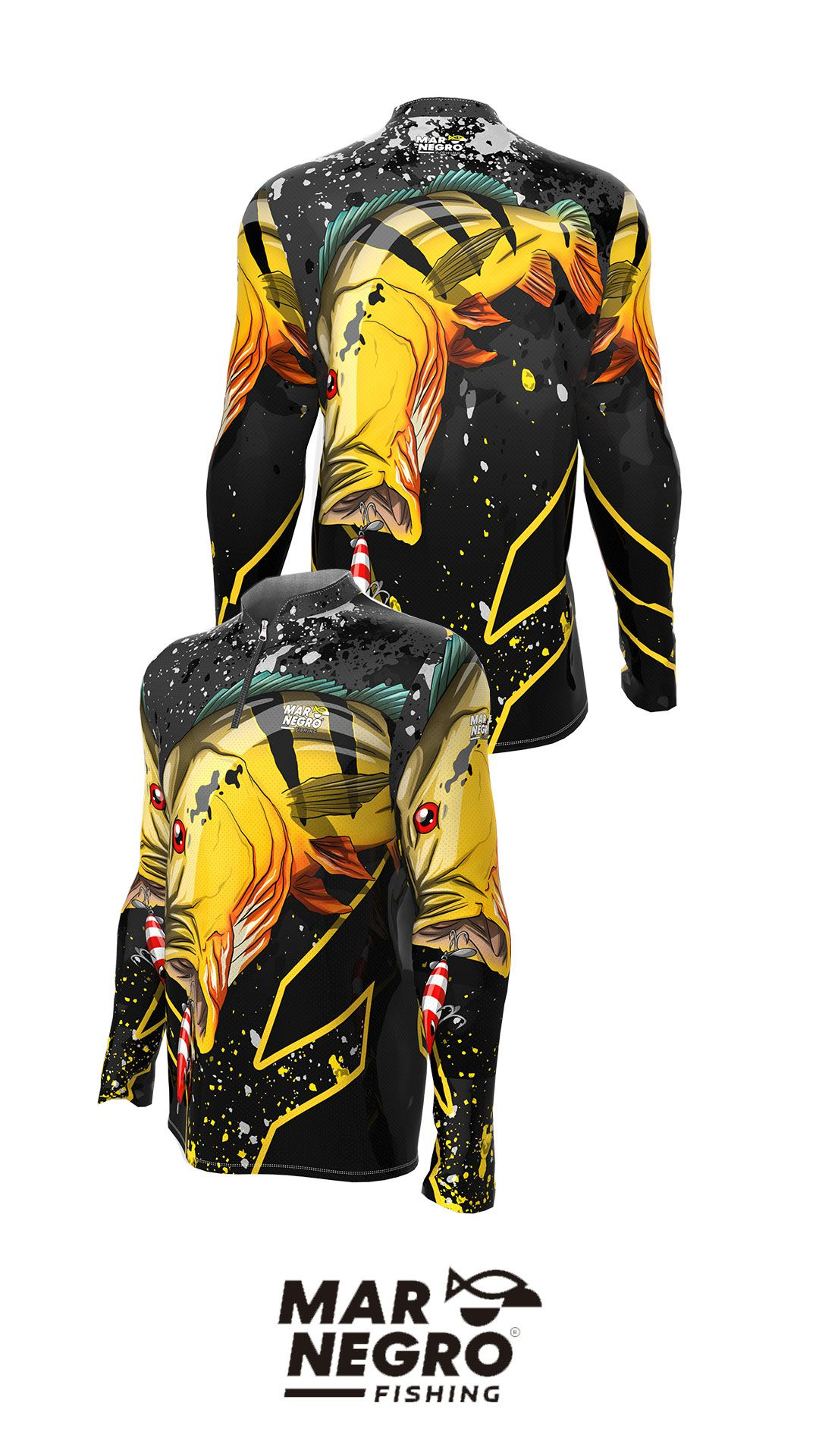 Camiseta de Pesca Infantil Proteção Solar 50+ UV Mar Negro - Modelos Coleção 2020