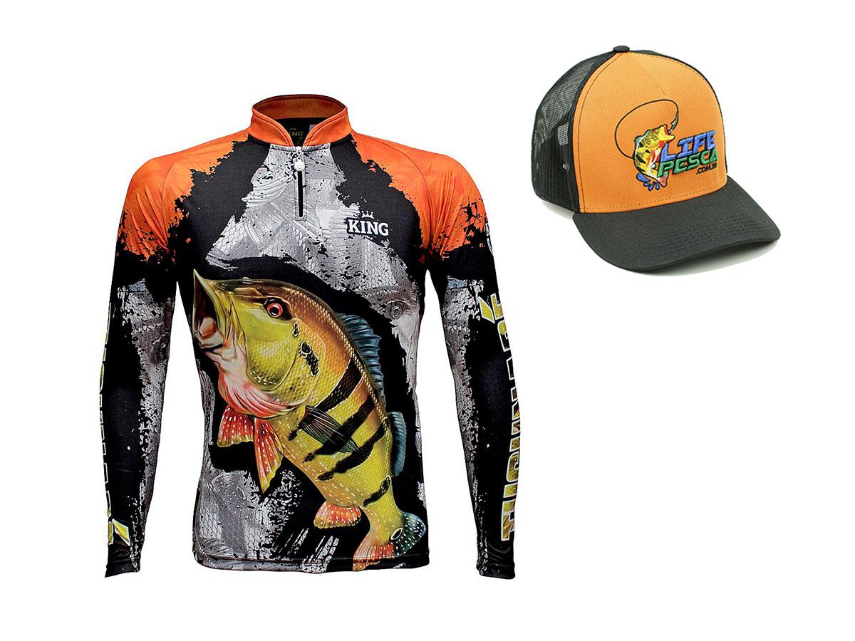 Camiseta De Pesca King Proteção Solar Uv KFF600 Tucunaré + Boné