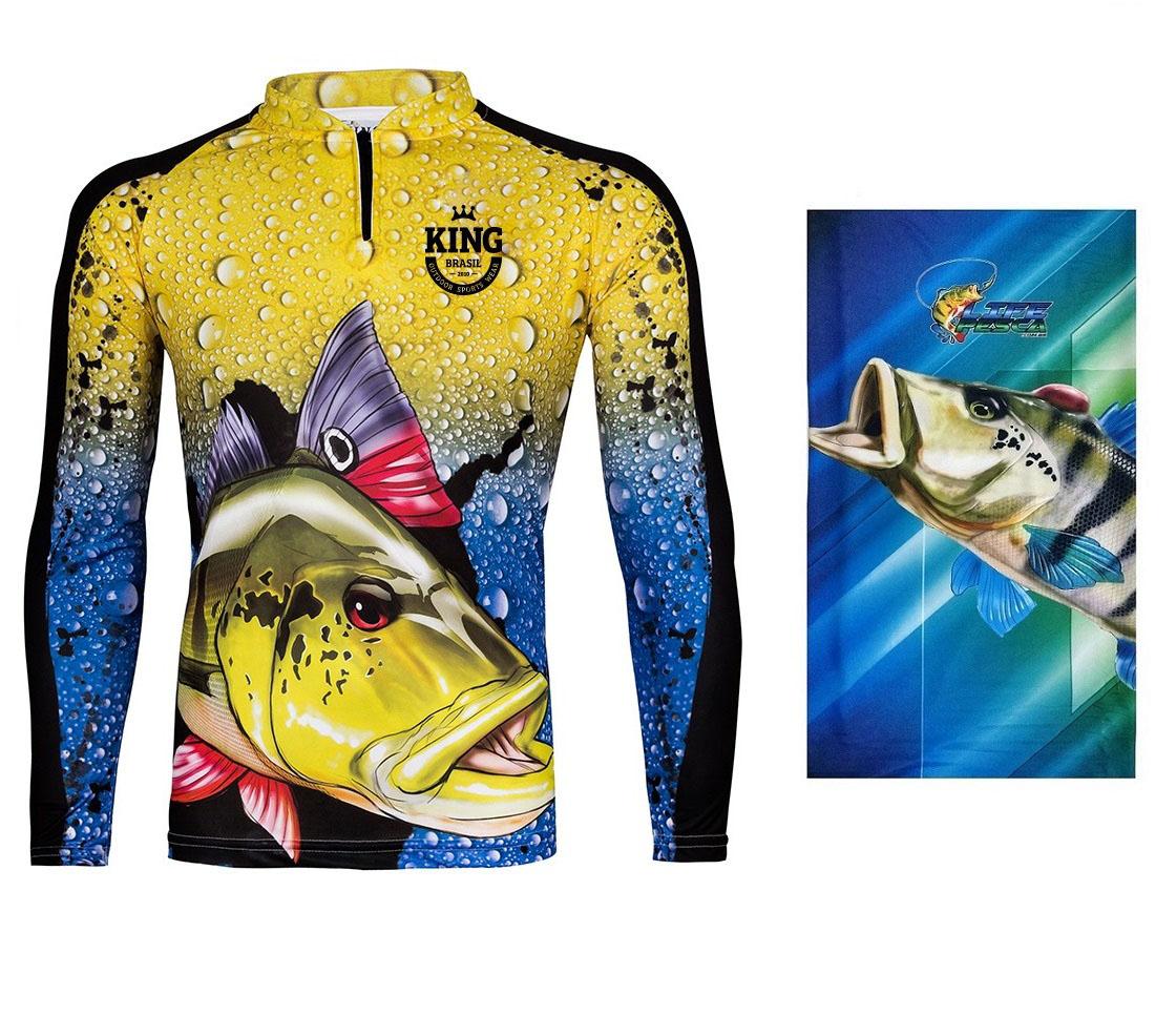 Camiseta De Pesca King Proteção Solar Uv KFF60 Tucunaré + Bandana