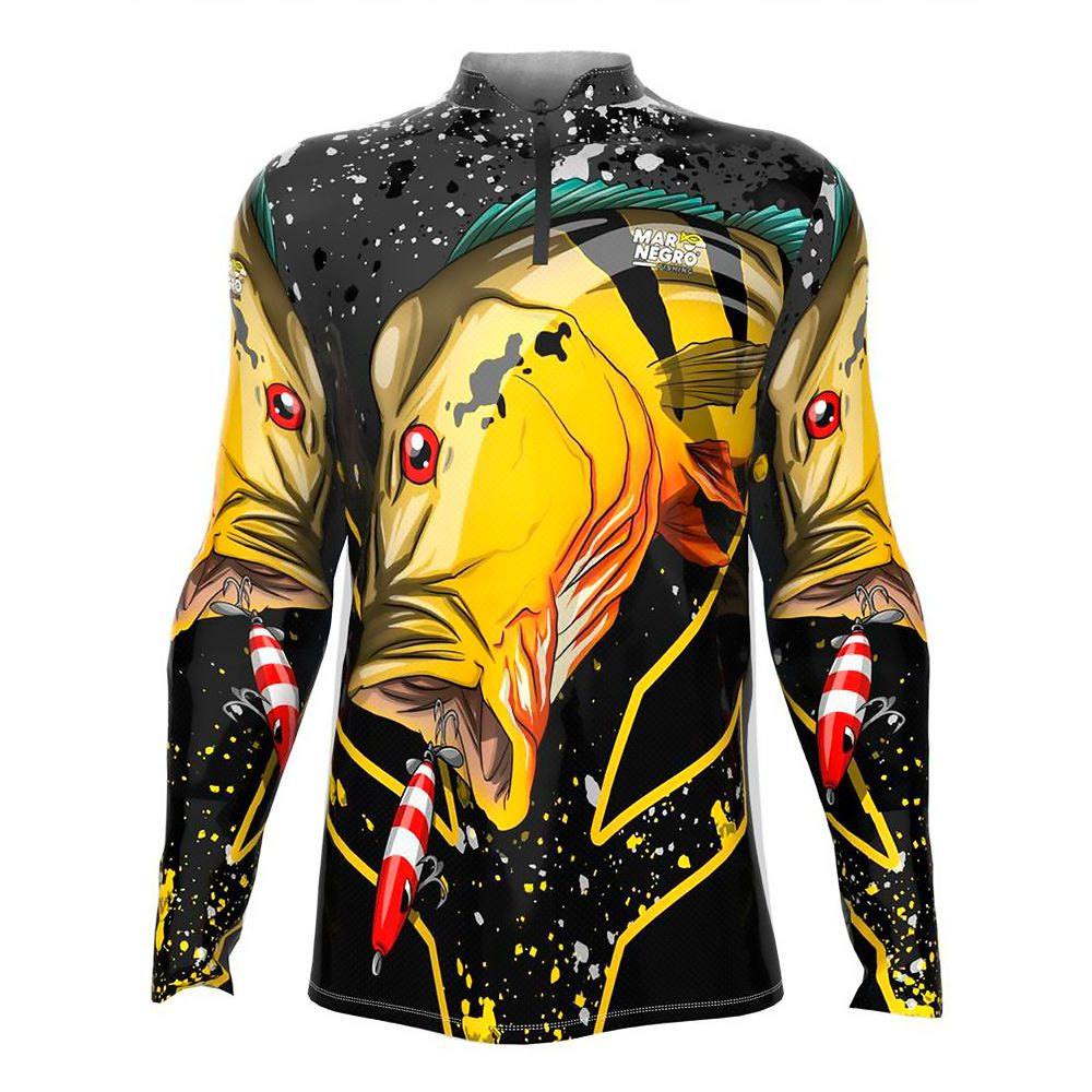 Camiseta de Pesca Masculino Proteção Solar 50+ UV Mar Negro - Tucunaré Açu 2020